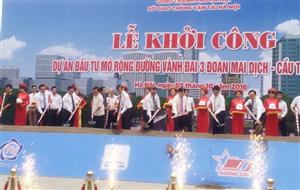 Khởi công mở rộng 5,5km đường Vành đai 3 Hà Nội